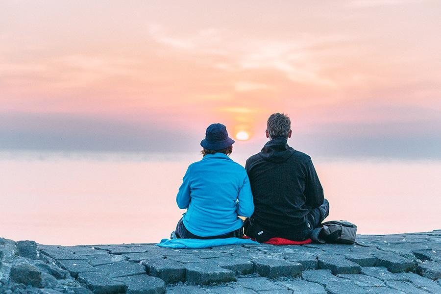 Camping am Deich, Deich, Nordsee, Sonnenuntergang