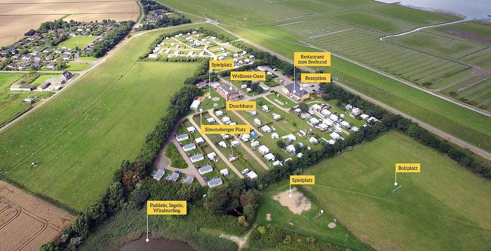 Luftaufnahme Nordseecamping zum Seehund, Nordsee, Campingplatz