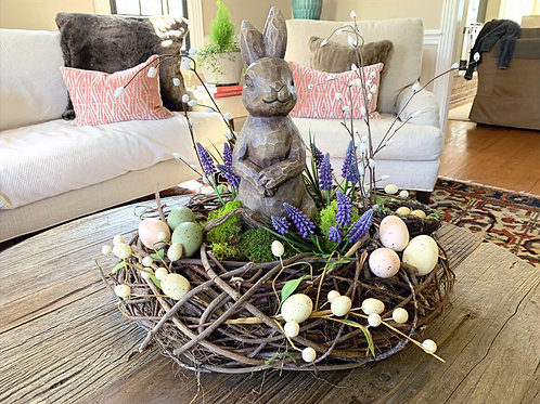 Wreath Centerpiece with Fake Grape Hyacinths, Robins Eggs, Pussy Willow and Moss