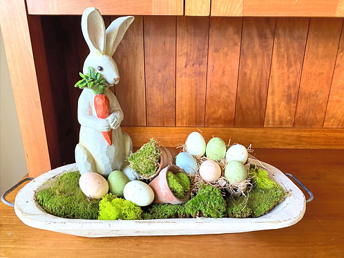 Wooden Tray with an Adorable Bunny, Robins Eggs and Moss