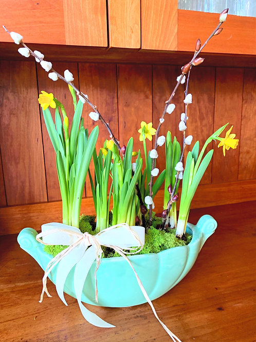 Light Green Vintage Pot with Tete Daffodils, Pusssy Willow and a Velvet Ribbon