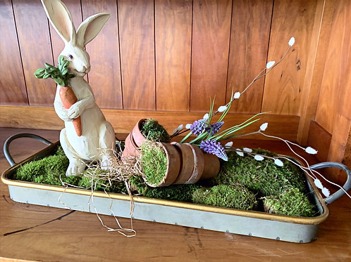 Tray with Pussy Willow, Fake Grape Hyacinth and Moss