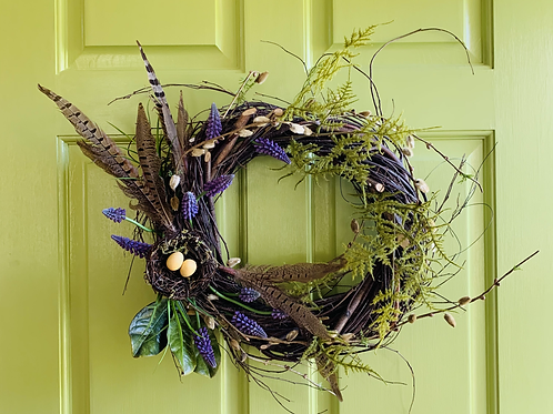 16 Inch Spring Birch Wreath with Feathers, Fake Grape Hyacinths and a Birds Nest