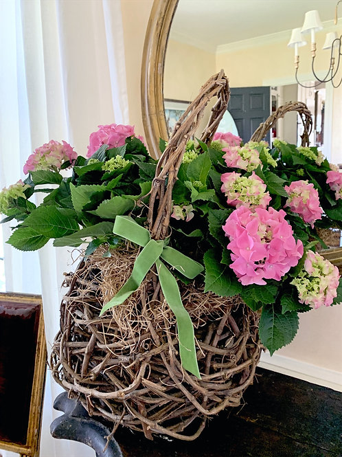 Antique Old Wood Basket with Two Pink Hydrangeas, Moss and a Parrot Green Velvet
