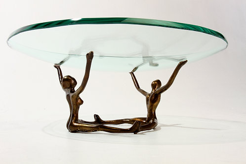 Sitting Couple Centerpiece with Glass