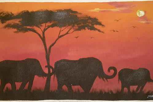 African Elephant – Original Canvas Painting