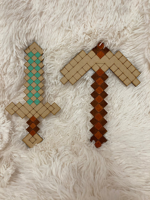 Minecraft axe and Sword MDF