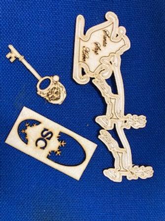 Santa key and Footprint set with a Santa sleigh door badge