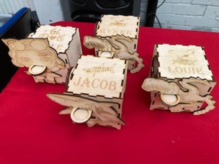 Mechanical Wooden coin box