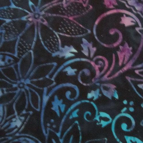 Batiks - Black/Pink Floral