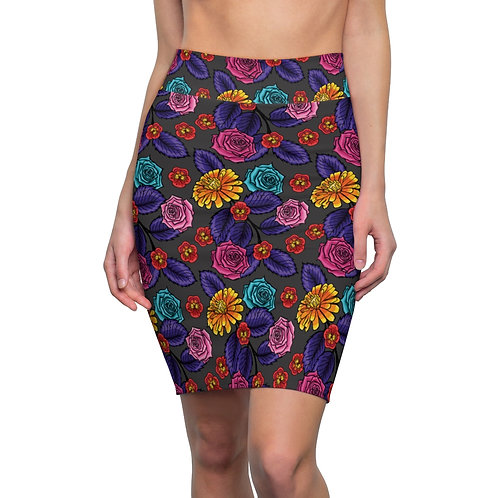 FLORA__Multi_Women's Pencil Skirt