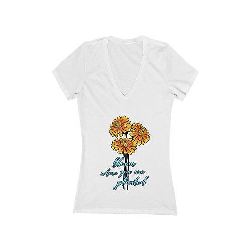 Flora_Women's Jersey Short Sleeve Deep V-Neck Tee