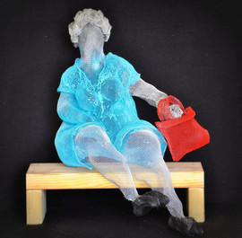 A lady with a red basket