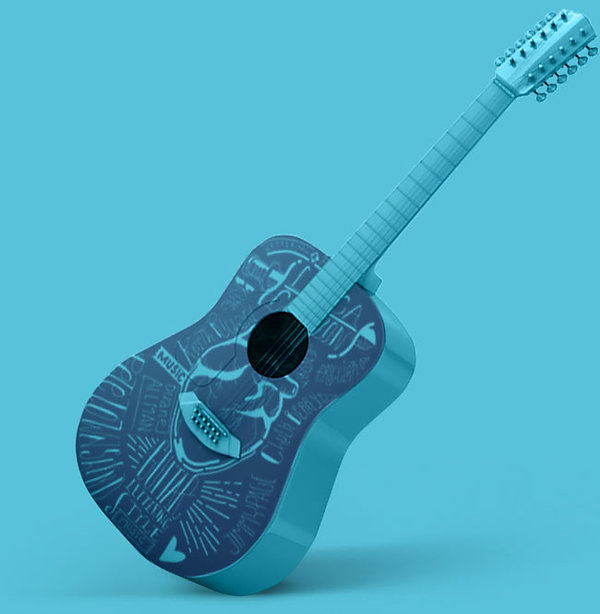 #vempramh, aulas de violão, violão 3d, guitarra acústica 3d, ilustração rock and roll