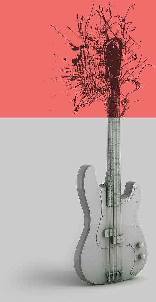 #vempramh, aulas de contra-baixo, contrabaixo 3d, ilustração rock and roll