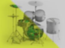 #vempramh, aulas de bateria ou batera, bateria 3d, ilustração rock and roll