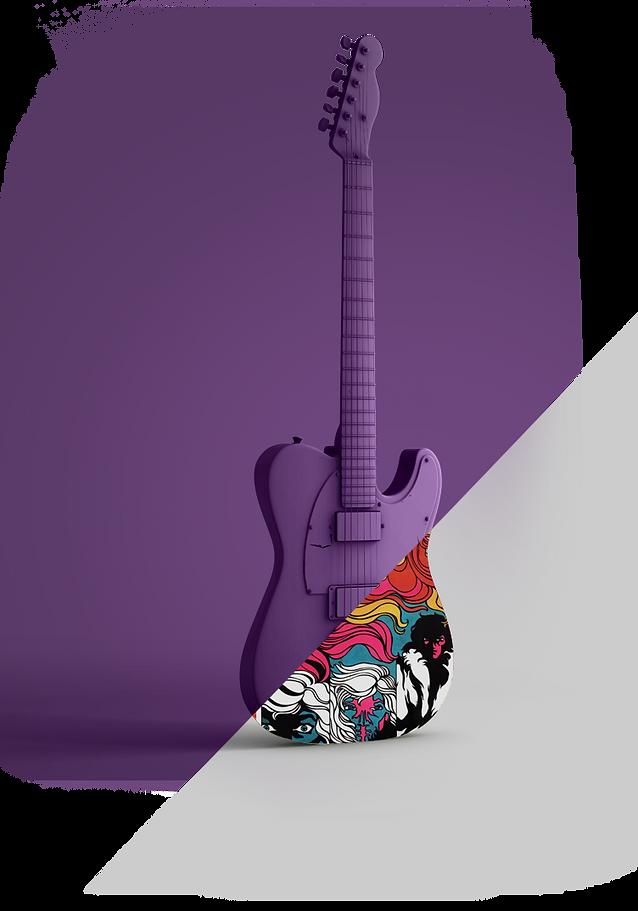 #vempramh, aulas de guitarra, guitarra 3d, ilustração rock and roll