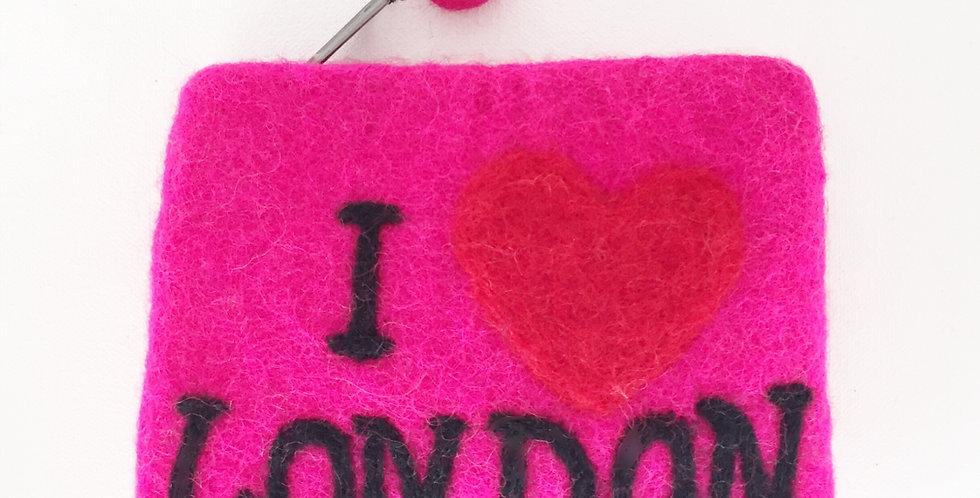 Pink I love London felt purse