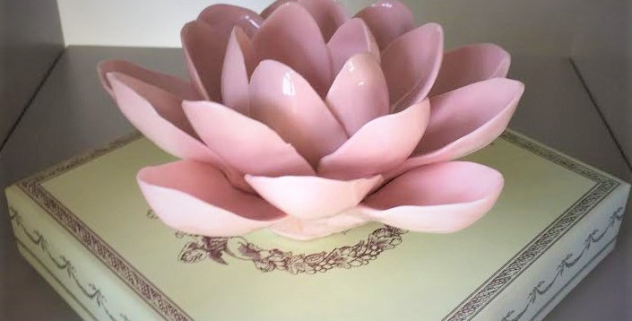 Peony candle holder   pink ceramic