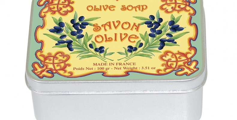 Olive soap in vintage tin box from France