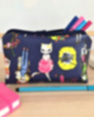Pencil case, cosmetic case, cat design, faux leather, handmade gift in London,