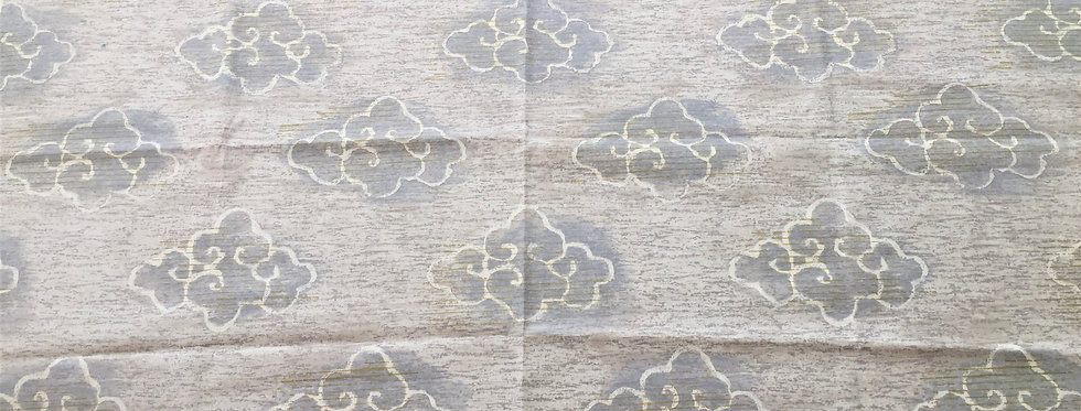 Designers Guild Shikishi Fabric - Cloud pattern with golden accents