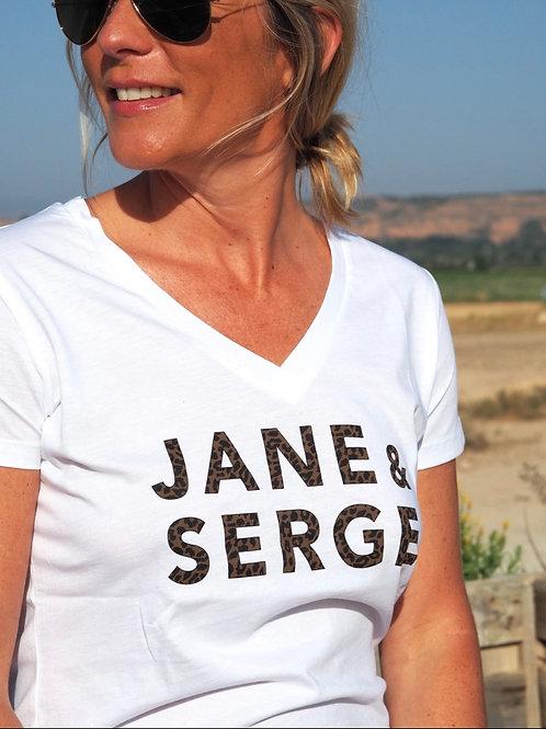TEE-SHIRT JANE ET SERGE BLANC/LEOPARD