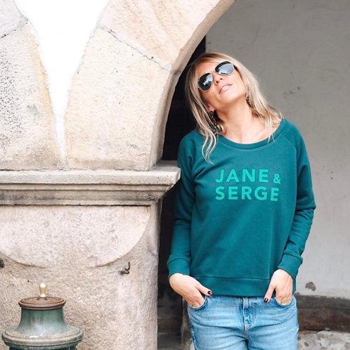 SWEAT LOOSE JANE ET SERGE VERT MAQUIS/VELOURS HERBE FRAICHE