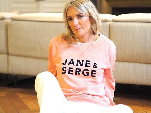 SWEAT RAGLAN JANE ET SERGE ROSE USED/VELOURS MARINE