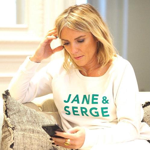 SWEAT LOOSE JANE ET SERGE CREME/VELOURS VERT