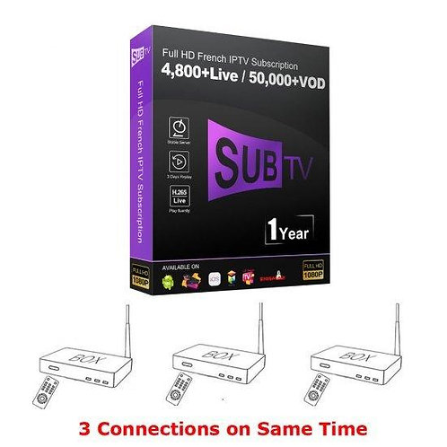 1-year SUBTV FULL HD Premium Server 3 device connect 4800+ live / 50000+VOD