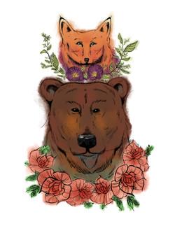 Bear and fox Totem