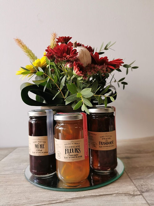 Arrangement floral & Confitures