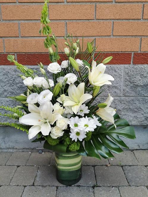 Arrangement funéraire dans un vase