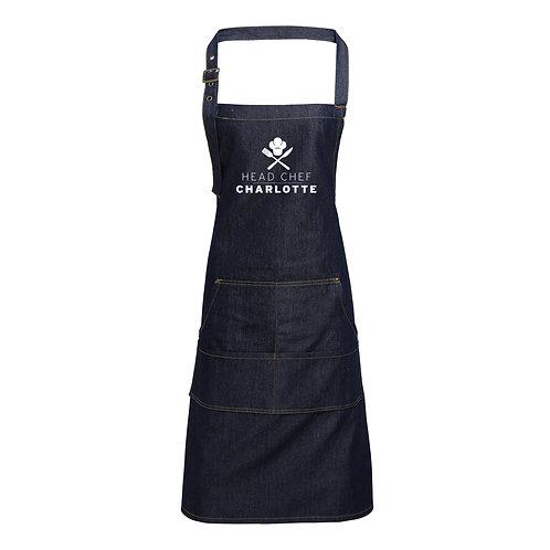 Personalised Head Chef Denim Apron