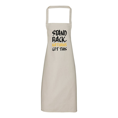 Personalised Stand Back Apron (no pocket)