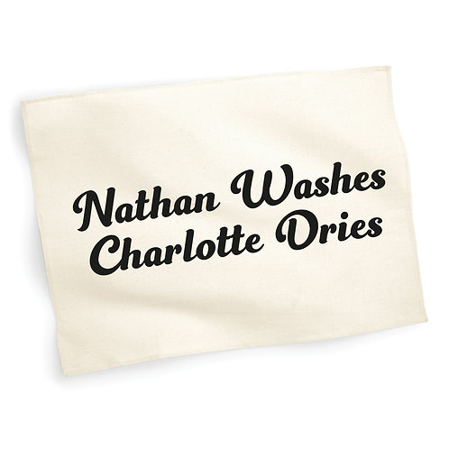 Personalised Washes and Dries Tea Towel