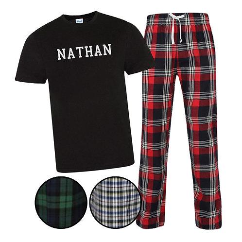 Men's Personalised Name Tartan Pyjama Set
