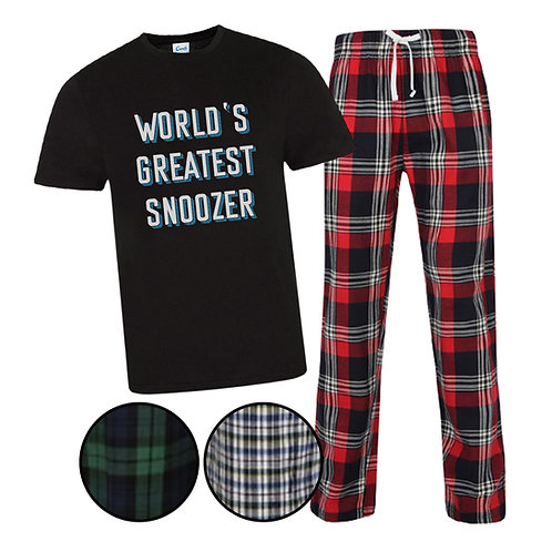 Men's Personalised Greatest Snoozer Tartan Pyjama Set