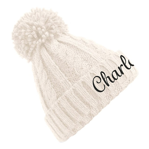 Personalised Name Cable Knit Beanie