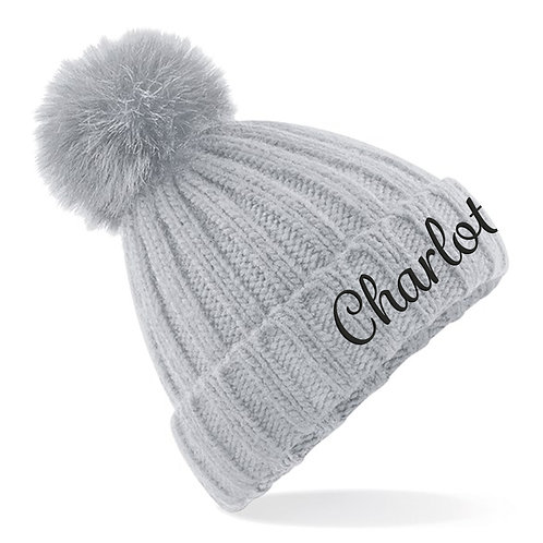 Personalised Name Verbier Fur Pom Pom Beanie