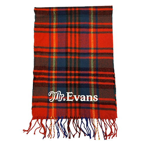 Personalised 'Mr & Mrs' Check Scarf Set