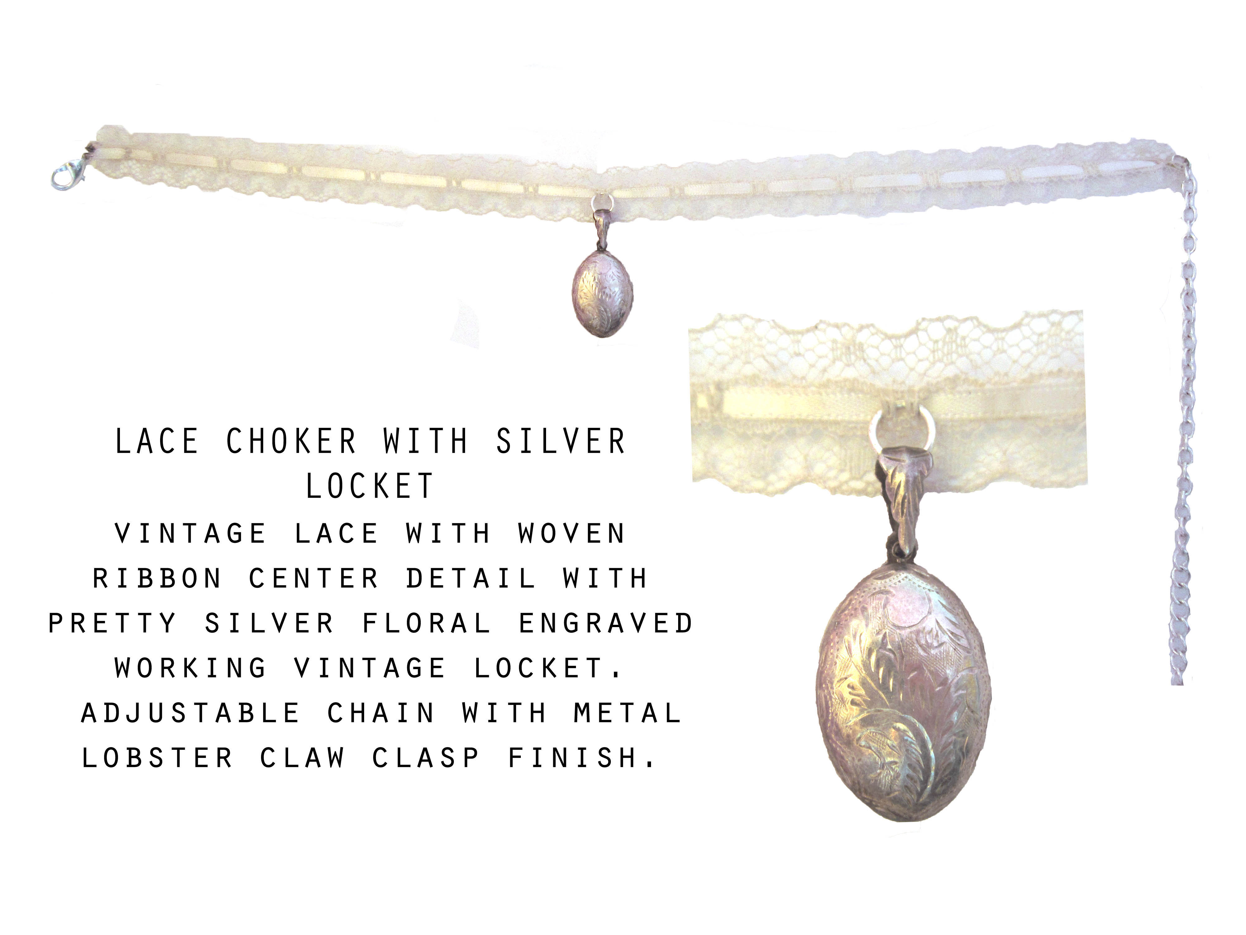 Lace Choker with Silver Locket