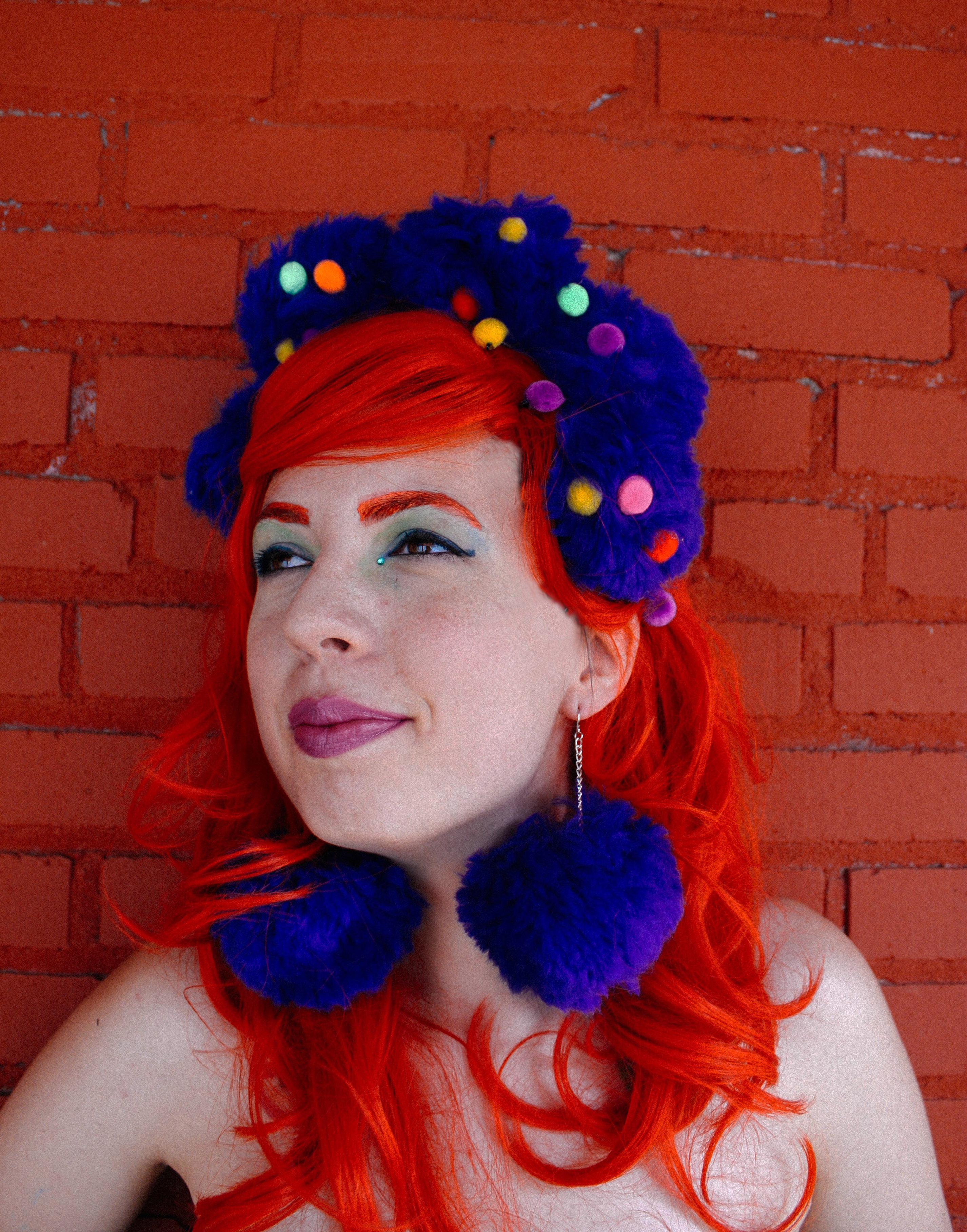 blue pom pom headpiece