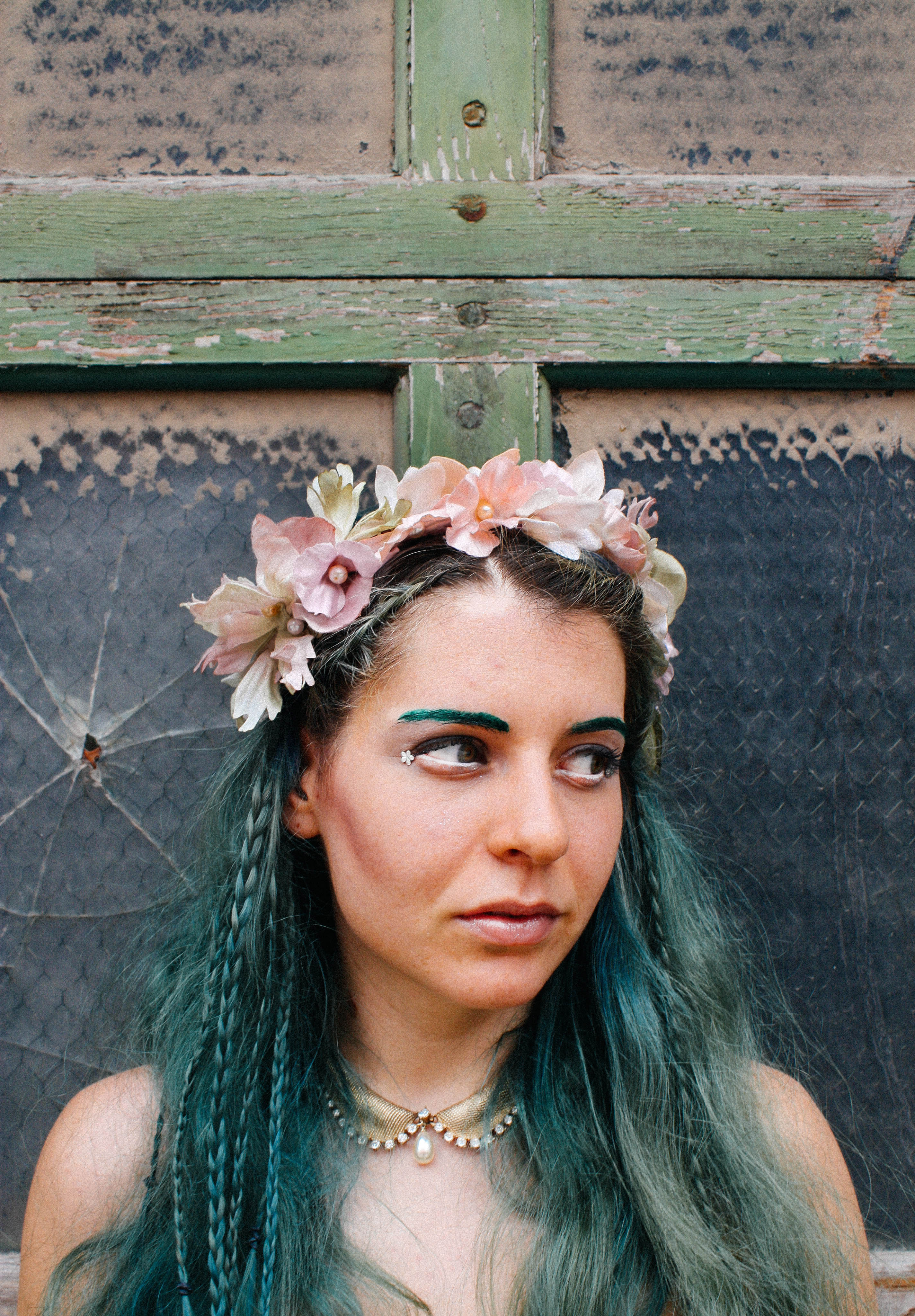small pastel floral headpiece with p