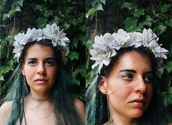 white floral headpiece