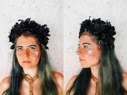 black floral veiled headpiece