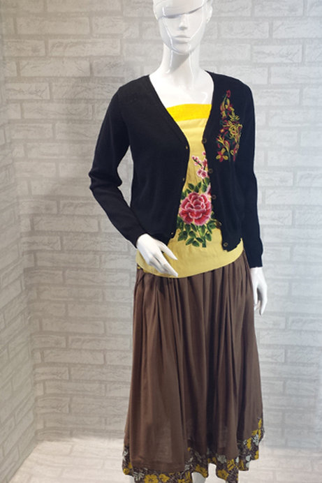 Brown Skirt with Yellow Flowers
