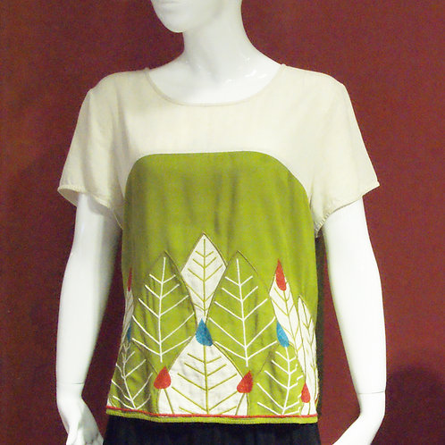 Leafy Embroidery Top - Green