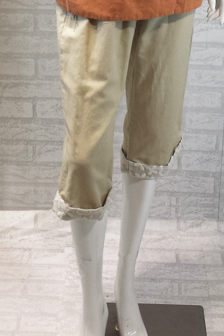 Beige Pant with Lace Cuff